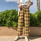 Vintage Yellow Plaid  Harajuku Pants - SD-style-shop