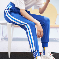 Blue trackpants with white stripes - SD-style-shop