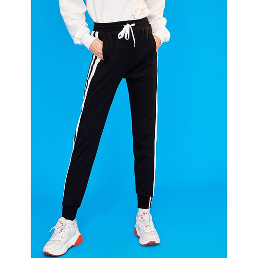 Black trackpants with white stripes - SD-style-shop