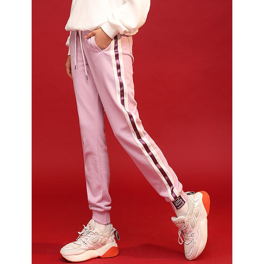 Light purple trackpants with white stripes - SD-style-shop