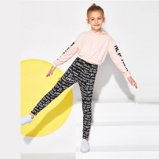 Girls legging with all over text print - SD-style-shop