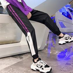Black and purple Side Striped Sweatpants - SD-style-shop