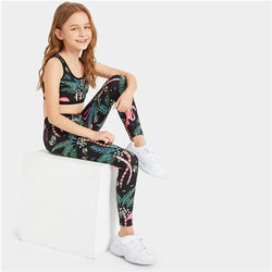 Girls printed athletic set- Flamingo - SD-style-shop