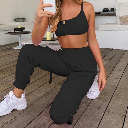 Black 2 Piece Set Crop Top and Cargo Pants - SD-style-shop