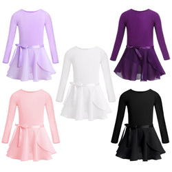 Longsleeve Ballet Leotard with Tied Skirt - SD-style-shop