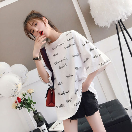 Korean Oversized Text print T-shirt - SD-style-shop