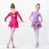 Girls Ballet Leotard Short Sleeve Skirted Ballet Clothing Dance Wear With Chiffon Skirts - SD-style-shop