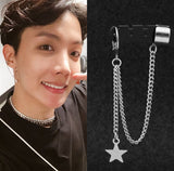 BTS style JIMIN earring with star and chain - SD-style-shop