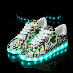 Led Glowing Sneakers with print - SD-style-shop