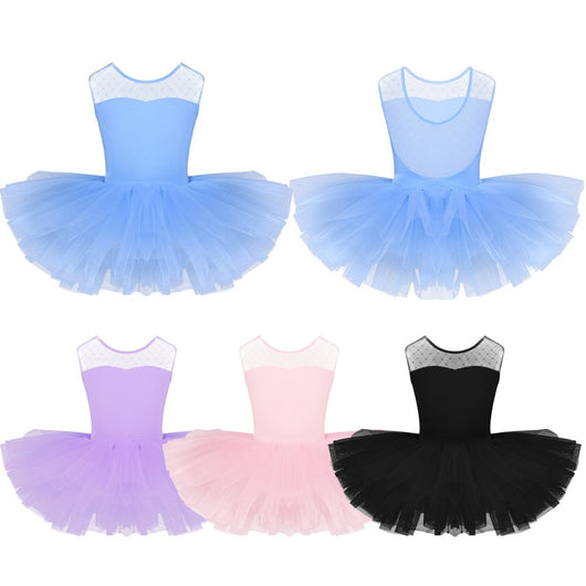 Girls Ballet tutu leotard with mesh top Mesh - SD-style-shop