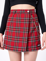 Vintage red plaid mini skirt with chain - SD-style-shop