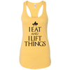"T-Shirts Banana Cream / X-Small ""I Eat And I Lift Things"" Women's Racerback Tank"