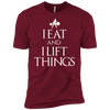 "T-Shirts Cardinal / X-Small ""I Eat And I Lift Things"" Men's Extra Comfort Tee"