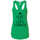 "T-Shirts Kelly Green / X-Small ""I Eat And I Lift Things"" Women's Racerback Tank"