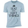 "T-Shirts Light Blue / X-Small ""I Eat And I Lift Things"" Men's Extra Comfort Tee"
