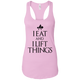 "T-Shirts Lilac / X-Small ""I Eat And I Lift Things"" Women's Racerback Tank"