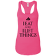 "T-Shirts Raspberry / X-Small ""I Eat And I Lift Things"" Women's Racerback Tank"