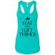 "T-Shirts Tahiti Blue / X-Small ""I Eat And I Lift Things"" Women's Racerback Tank"