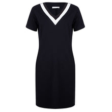 Load image into Gallery viewer, About Jackie - zwarte punto v-neck dress met zakken