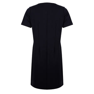 About Jackie - zwarte punto v-neck dress met zakken