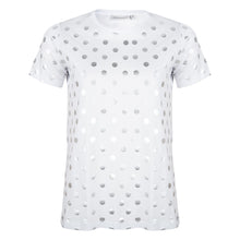 Load image into Gallery viewer, About Jackie - zilveren dot print t-shirt - wit
