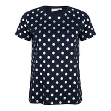 Load image into Gallery viewer, About Jackie - zilveren dotprint t-shirt - navy