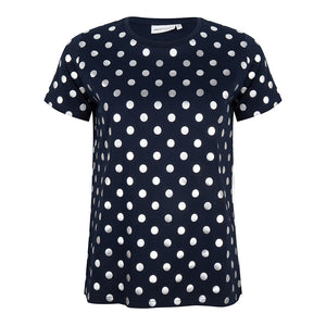 About Jackie - zilveren dotprint t-shirt - navy