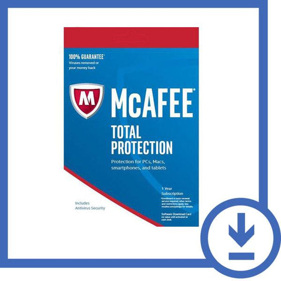 McAfee Total Protection 2019 - 1 Year 10 DEVICES + Latest Updates