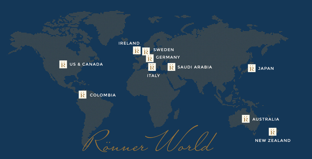 Map of stores that sell Rönner products Worldwide