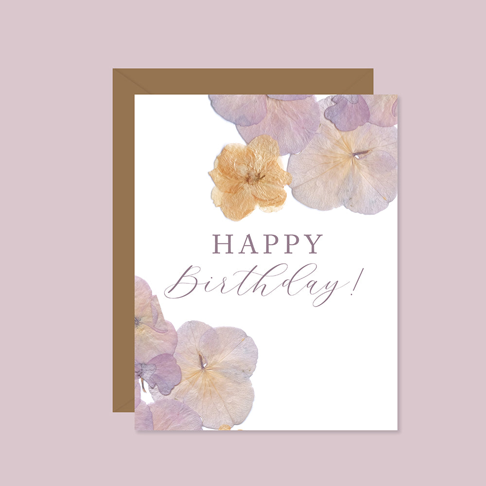 Happy Birthday (Pressed Hydrangeas)
