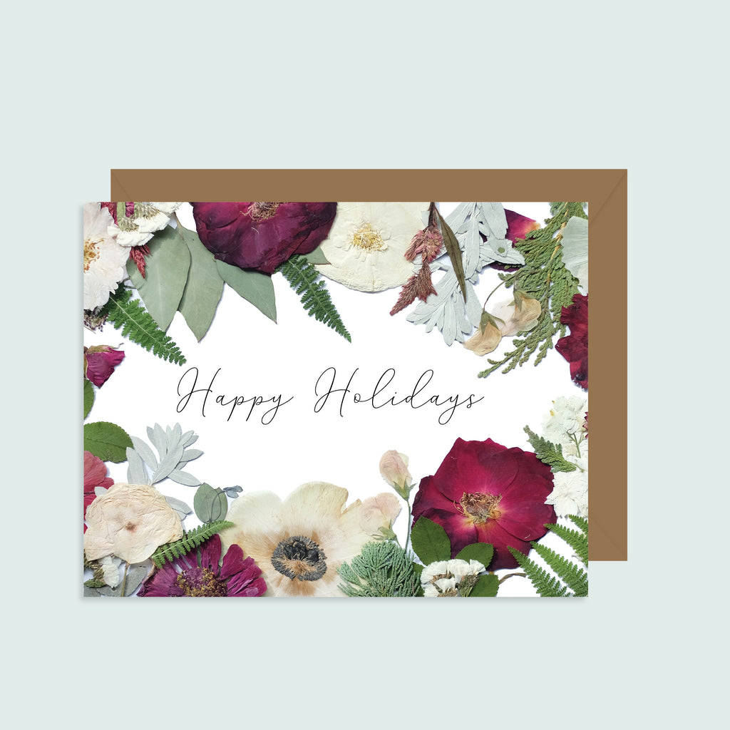 Happy Holidays Pressed Flowers