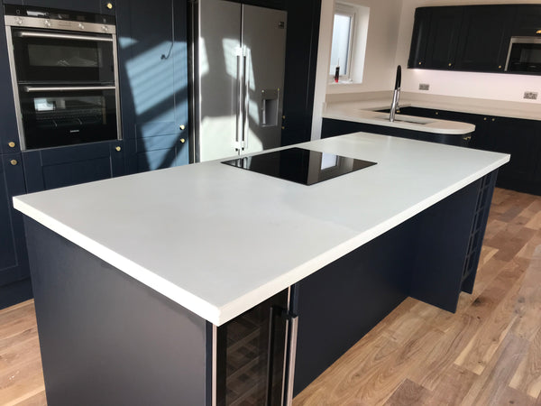 white polished concrete island worktop