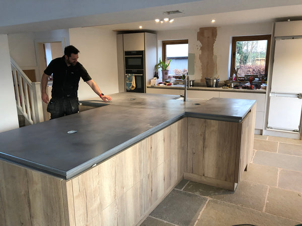 large T-Shaped Polished Concrete Island Worktop