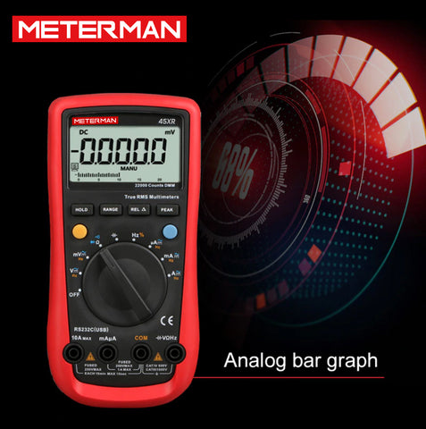 Meterman 45XR AC/DC Modern Digital Auto Ranging Multimeters Backlight & Data Hold