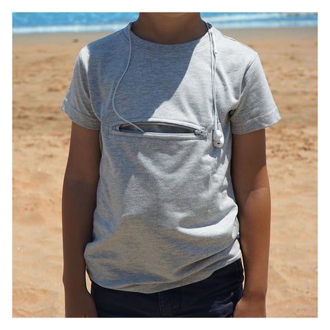 Kids travel safety t-shirts with safety pocket