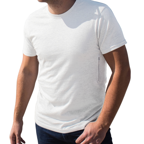 Crew Neck T-shirt with 2 secret zipper pockets