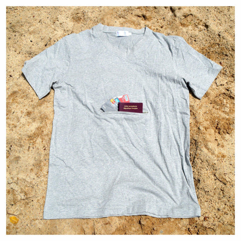 V-neck T-shirt with secret pocket