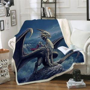 Bedding Outlet Dinosaur Fluffy Blanket Jurassic Soft Blanket Boys 3D Animal Sherpa Blanket Tyrannosaurus Bedding Cobertor 004