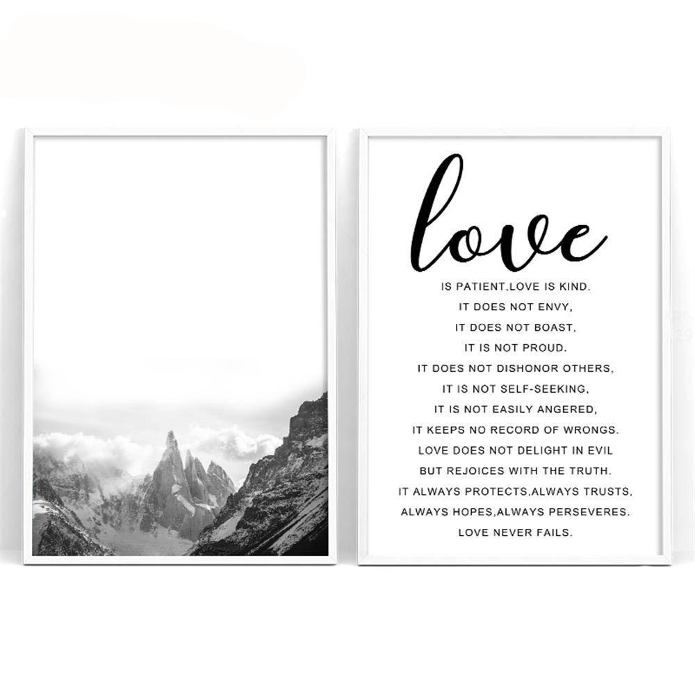 Love Quote And Mountain Canvas - uniquelyfurniture.com