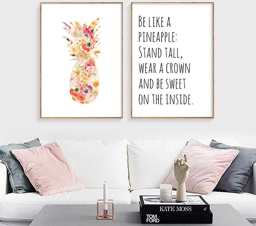 Scandinavian Watercolor Pineapple Canvas - uniquelyfurniture.com
