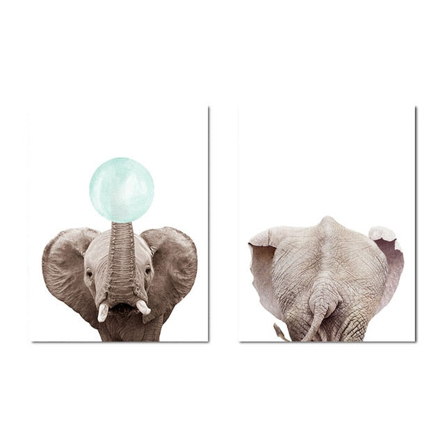 Elephant And Rabbit Bubble Canvas - uniquelyfurniture.com