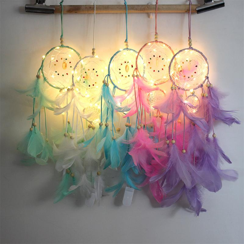 LED Feather Dreamcatcher - uniquelyfurniture.com