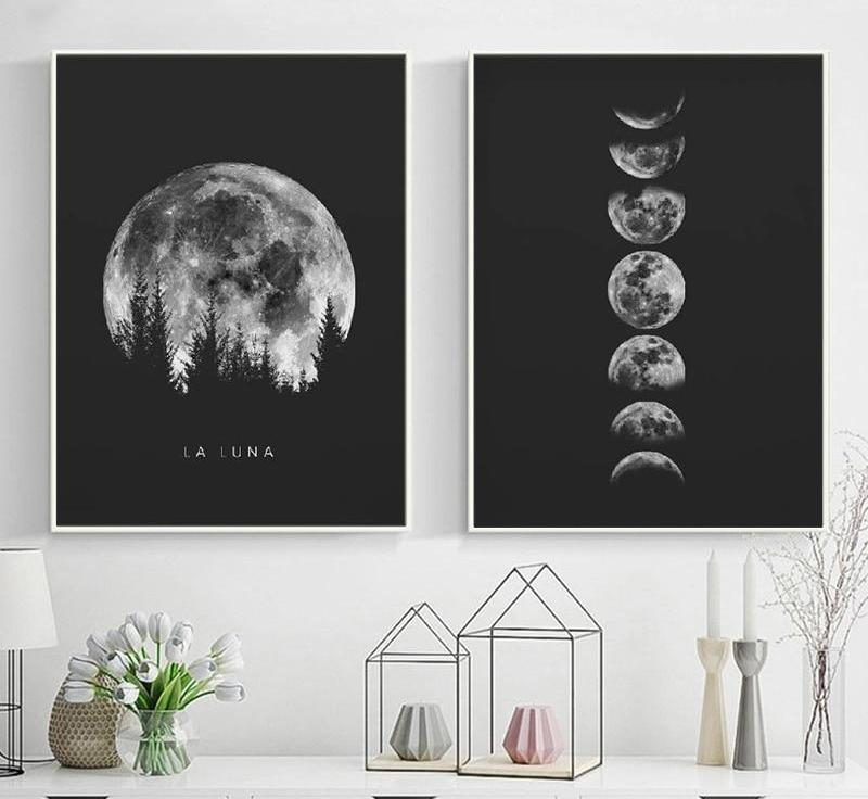 Wooded Moon Phase Canvas Set