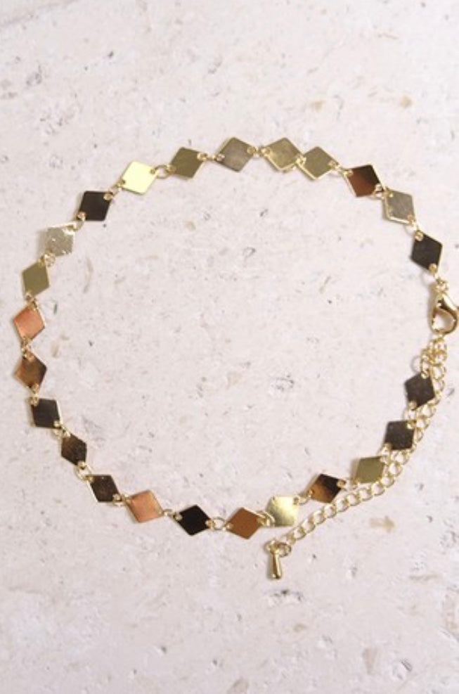 Jordyn Gold Metal Diamond Anklet