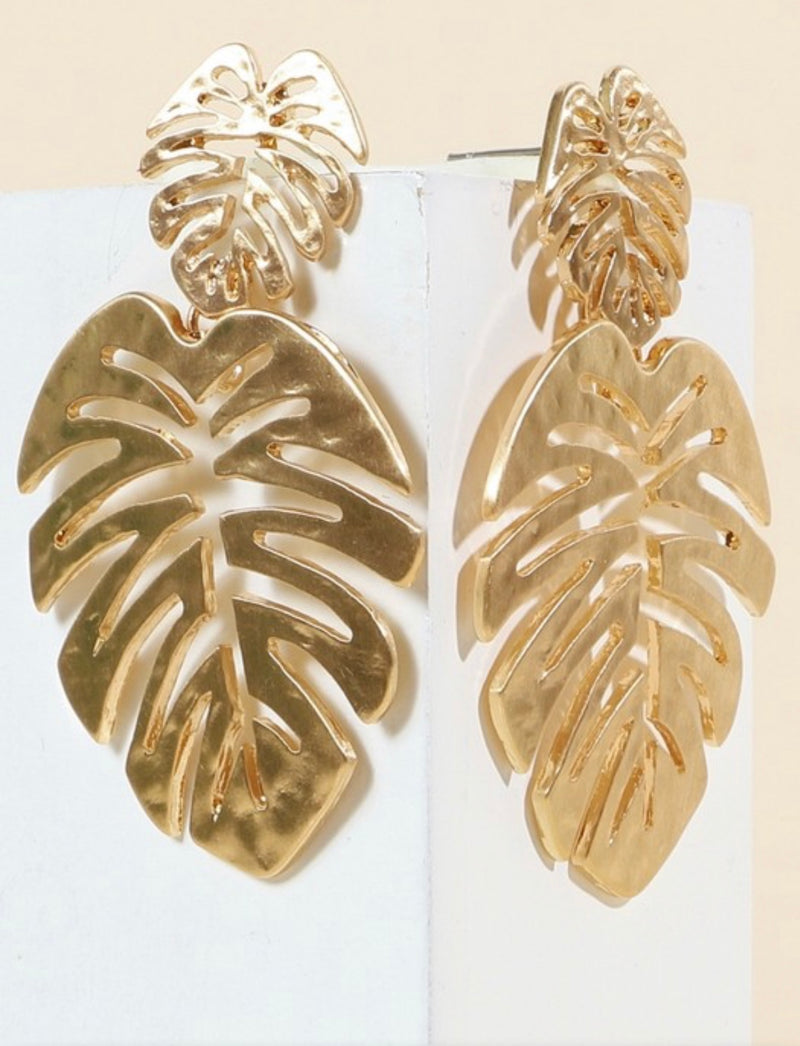 Lola Gold Palm Leaf Earrings