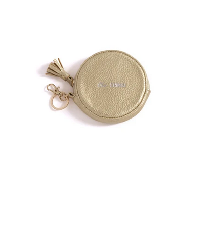 """Cha Ching"" Round Zip Pouch w/ Key Chain"