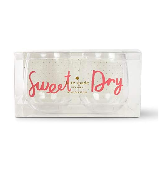 kate spade new york - Acrylic Stemless Wine Glass Set, Sweet & Dry