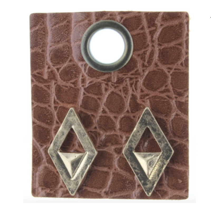 Gold Diamond-Shaped Studs