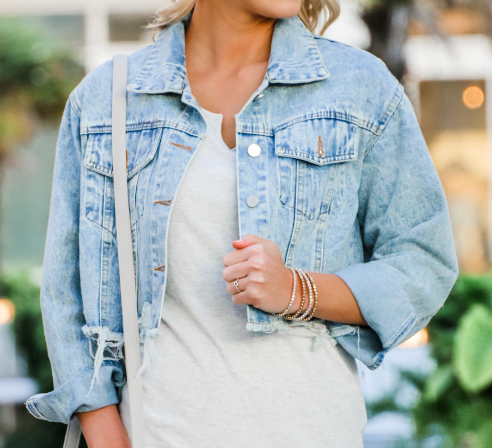 Roxi - Distressed Denim Jacket
