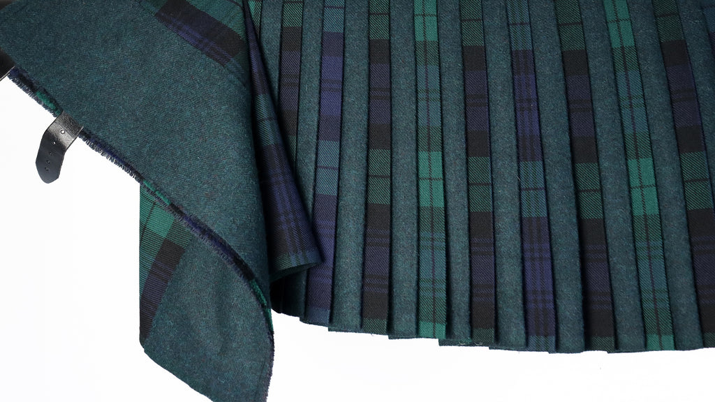 Tweed and Tartan Contrast Pleat Kilt